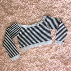 Chic Black & White Striped Rave/Dance Crop Top🖤